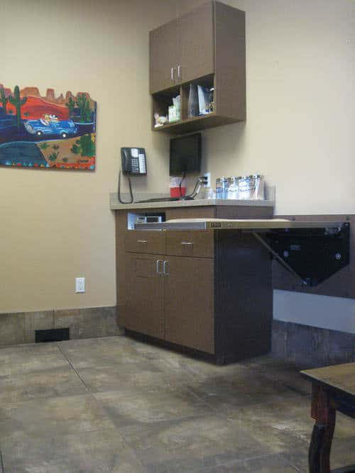 One of the exam rooms at the animal hospital.