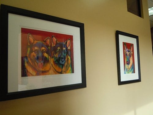 Art of dogs in the clinic hallway