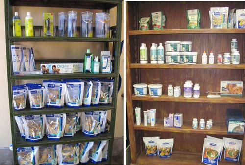The retail displays in the clinic
